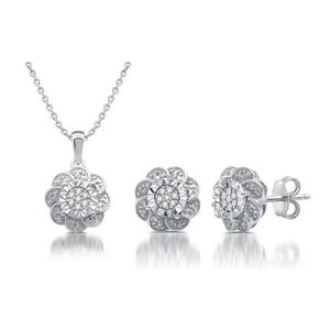 Jewelry - Sterling Silver 1/10 Cttw Diamond Two Piece